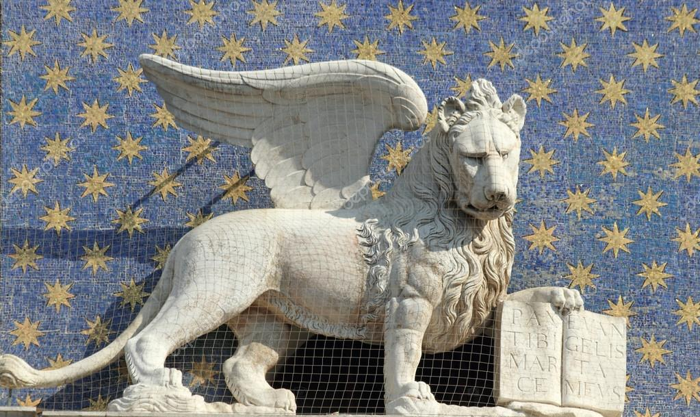 The Symbol Of Venice Winged Lion Of St Mark Holding A Book Repr