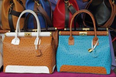Ostrich leather colorful handbags on Mercato di San Lorenzo ( M