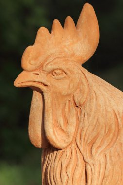 head of cock in tuscan terracotta - garden decoration, Florence,