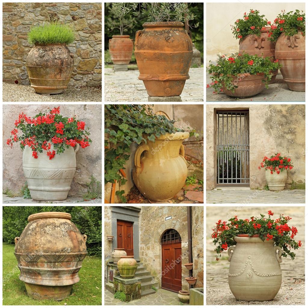 Collage con vasi da giardino in stile antico foto stock - Vasi da giardino ...