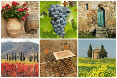 Chianti collage, collection of images from Tuscany stock vector