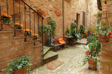 Italian patio with flowers