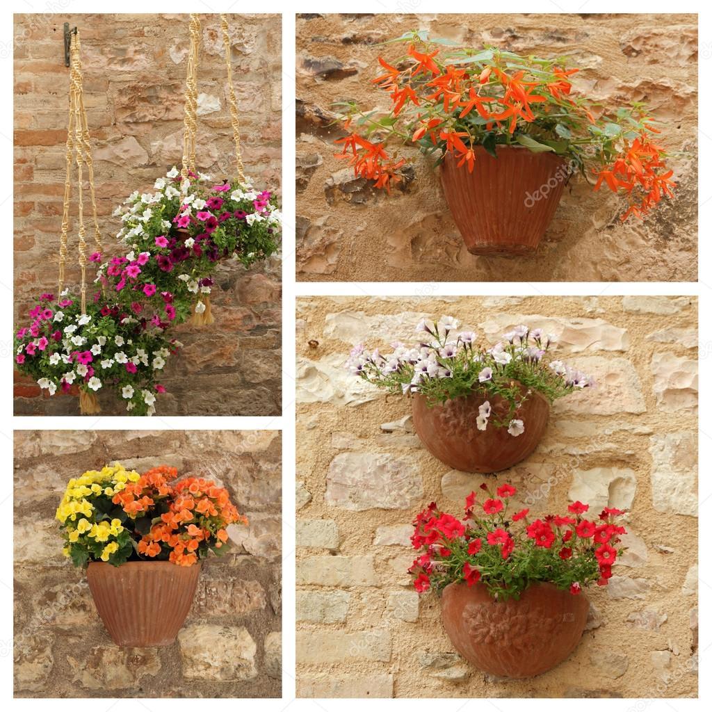 Vasi di fiori appesi sulla facciata foto stock for Vasi appesi