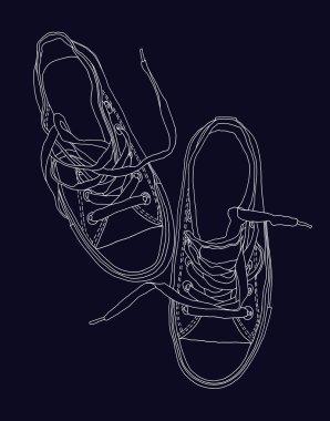 Black gym shoes.