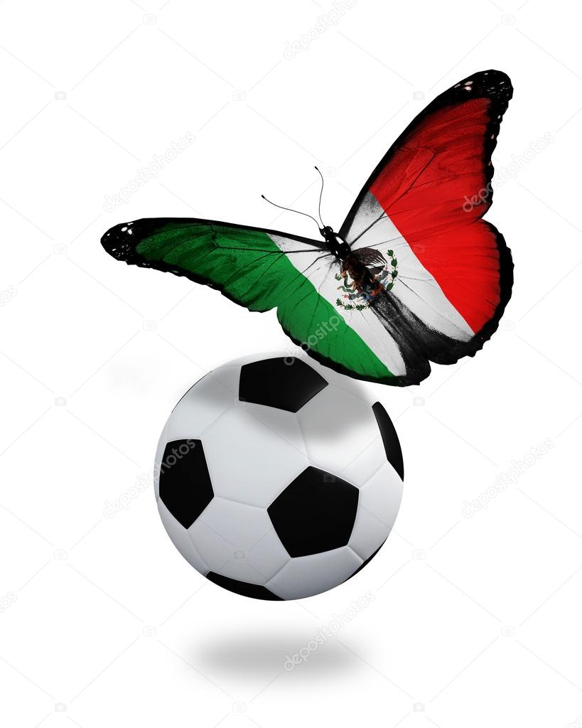 Concept - butterfly with Mexican flag flying near the ball, like