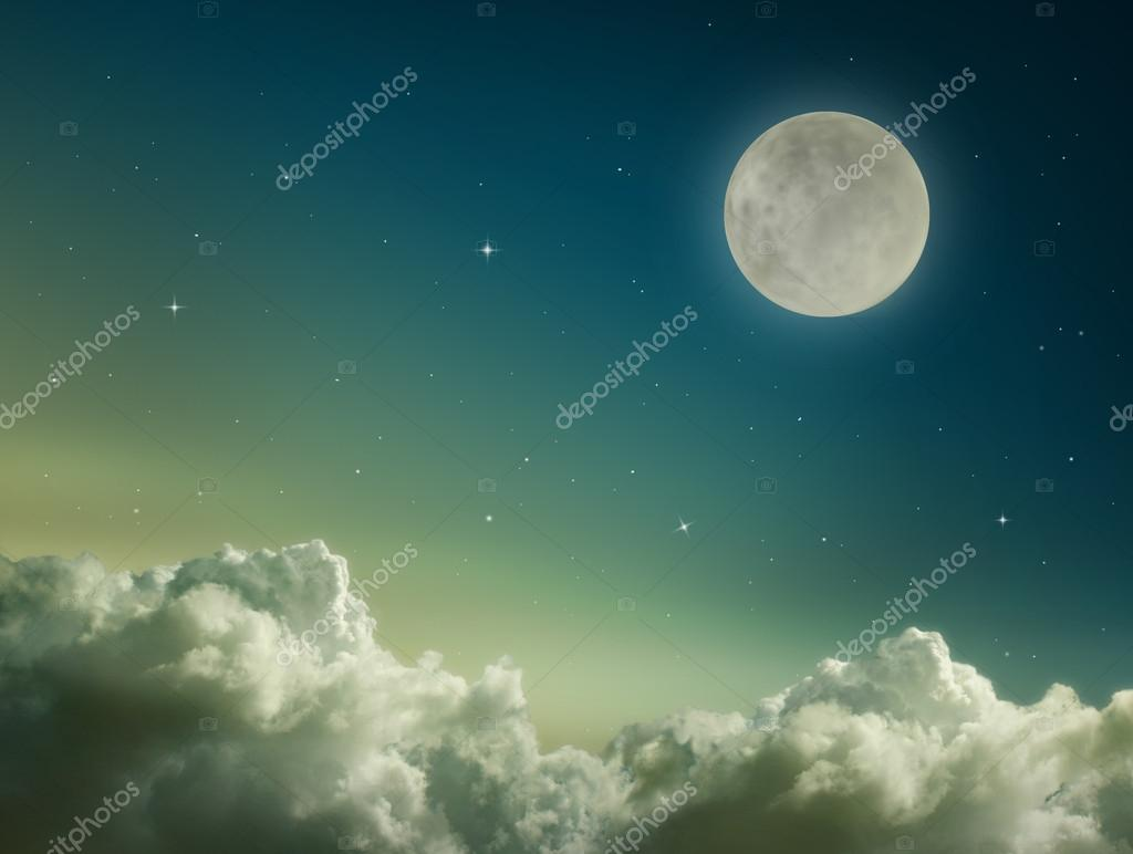 Dark blue sky with moon and stars