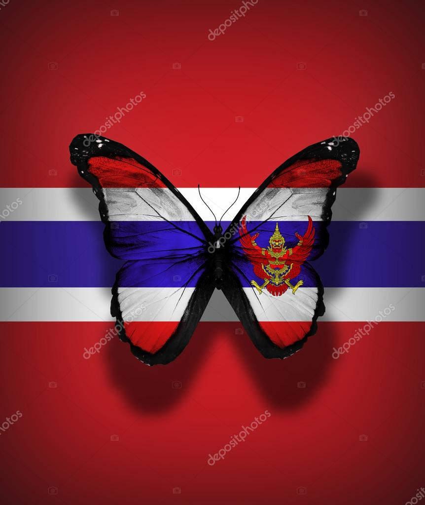 Thailand flag butterfly with coat of arms, isolated on flag background