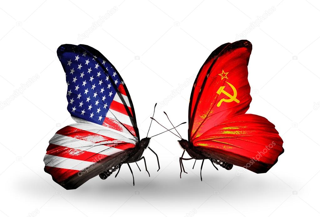 Two butterflies with flags on wings as symbol of relations USA and Soviet Union