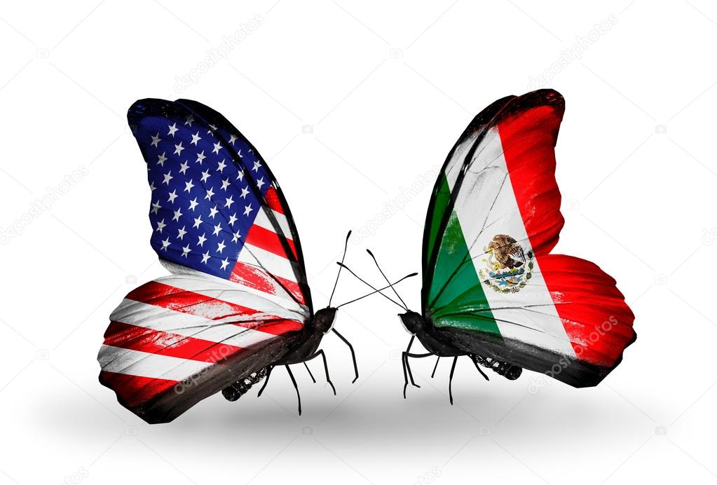 Two Butterflies With Flags On Wings As Symbol Of Relations USA And - Usa and mexico
