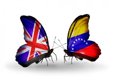 Two butterflies with flags on wings as symbol of relations UK and Venezuela