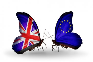 Two butterflies with flags on wings as symbol of relations UK and European Union
