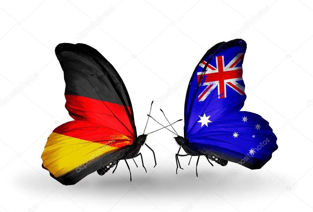 Two Butterflies With Flags On Wings As Symbol Of Relations Germany