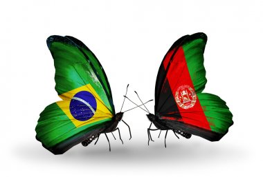 Two butterflies with flags on wings as symbol of relations Brazil and Afghanistan