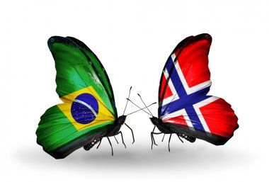 Two butterflies with flags on wings as symbol of relations Brazil and Norway