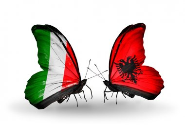 Two butterflies with flags on wings as symbol of relations Italy and Albania
