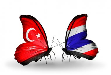 Two butterflies with flags on wings as symbol of relations Turkey and Thailand