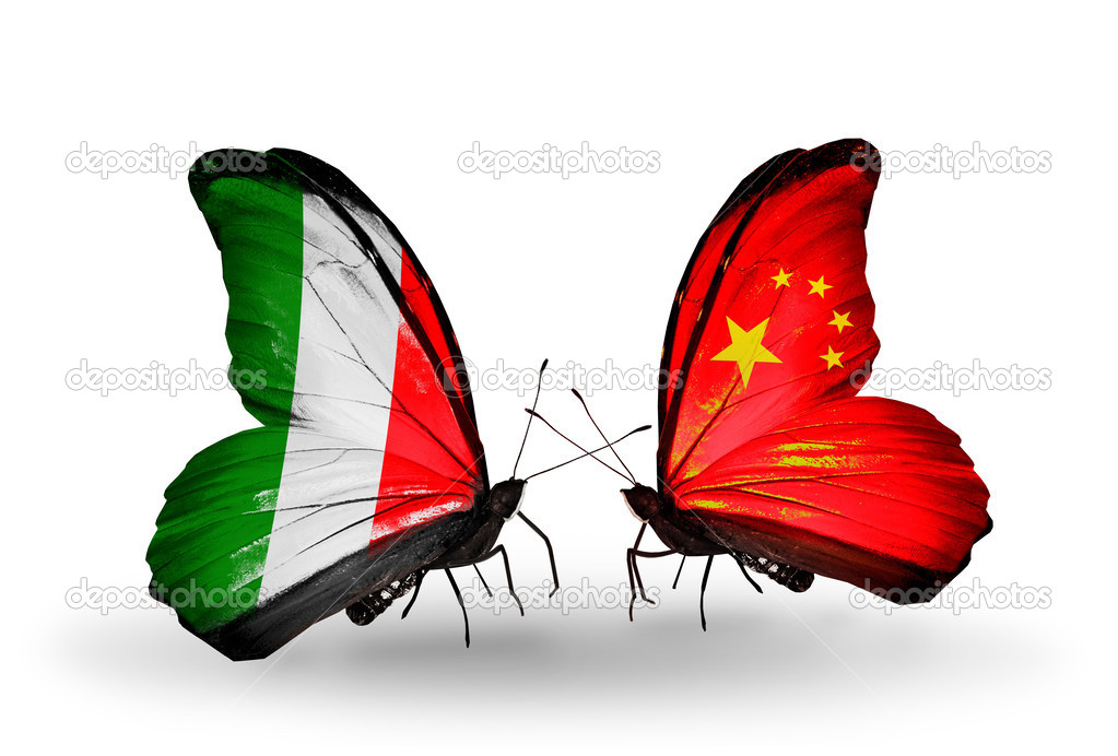 Due farfalle con bandiere sulle ali come simbolo delle for Cu ci na roma