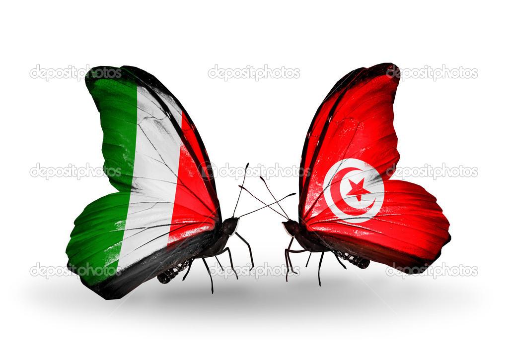 Top papillons avec des drapeaux sur les ailes comme symbole des  UG93