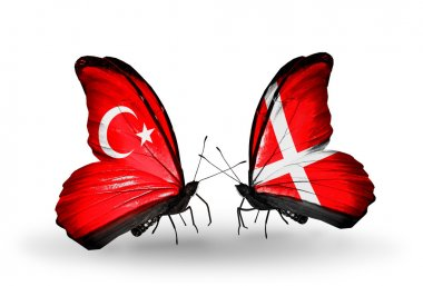 Two butterflies with flags on wings as symbol of relations Turkey and Denmark