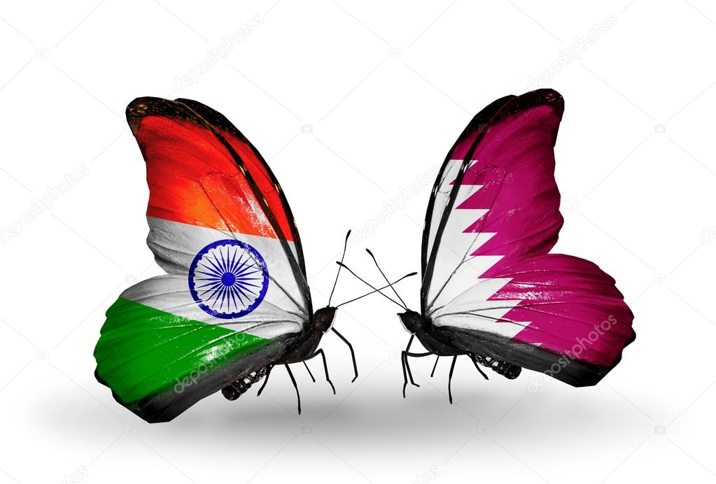 Indian Flag Butterflies: Two Butterflies With Flags On Wings As Symbol Of Relations