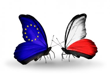 Two butterflies with flags on wings as symbol of relations EU and Poland