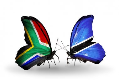 Two butterflies with flags on wings as symbol of relations South Africa and Botswana