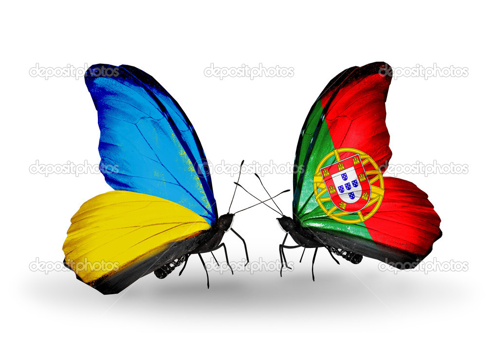 Two Butterflies With Flags On Wings As Symbol Of Relations Ukraine