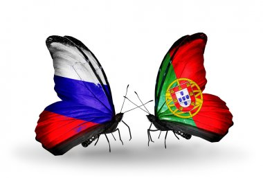 Two butterflies with flags of Russia and Portugal on wings