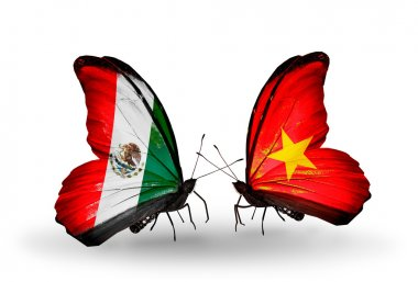 Two butterflies with flags of Mexico and Vietnam on wings