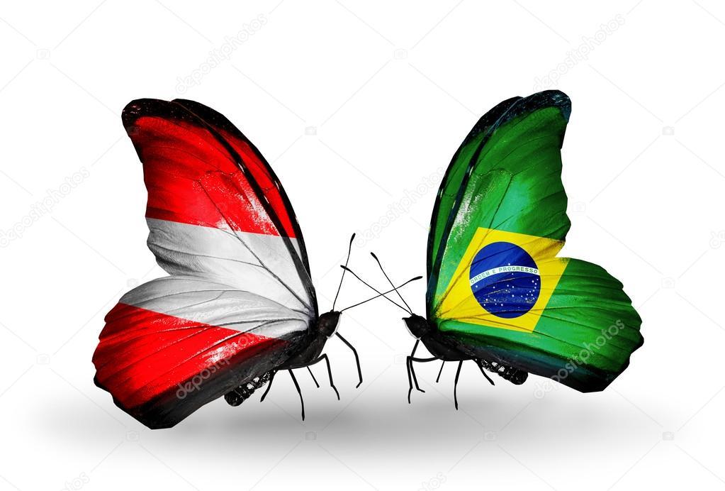 Duas borboletas com bandeiras da Áustria e Brasil nas asas — Fotografia de Stock
