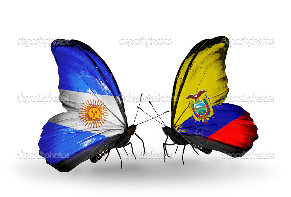 Butterflies With Argentina And Ecuador Flags On Wings Stock - Ecuador flags