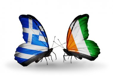 Two butterflies with flags of relations Greece and Cote Divoire