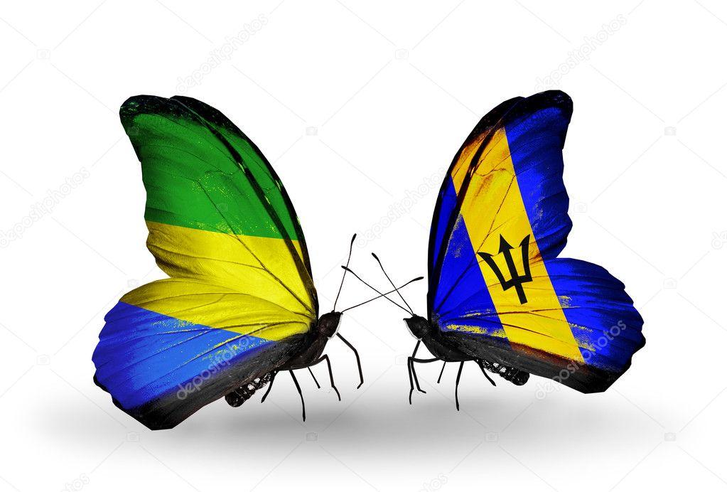 Фотообои Бабочки с Габоном и флаги Барбадоса на крыльях