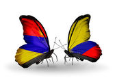 Butterflies with Armenia and  Columbia flags on wings