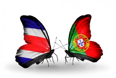 Butterflies with Costa Rica and  Portugal flags on wings