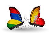 Motýli s příznaky Mauricius a Bhútán