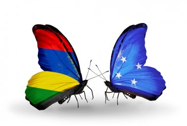 Butterflies with Mauritius and Micronesia flags