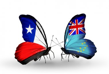 Butterflies with Chile and Tuvalu flags
