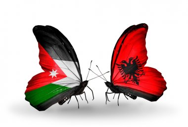 Butterflies with Jordan and Albania flags on wings