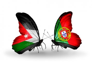 Two butterflies with flags of Jordan and Portugal