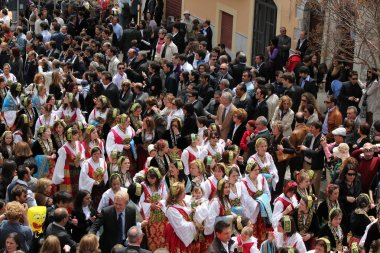Easter parade in Sicilian town with Albanian traditions. Piana degli Albanesi, near Palermo, Italy