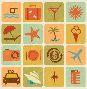 Set of 16 tourism and travel icons