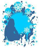 dívka a sněhové vločky