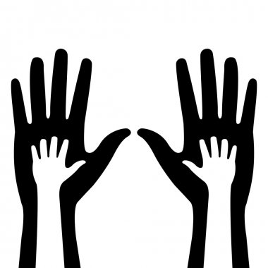 Silhouettes of adult and children's hands clip art vector