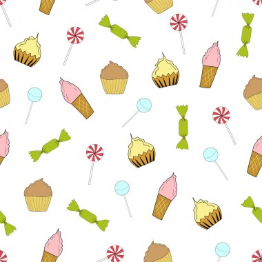 Seamless texture cupcakes, ice cream and candy