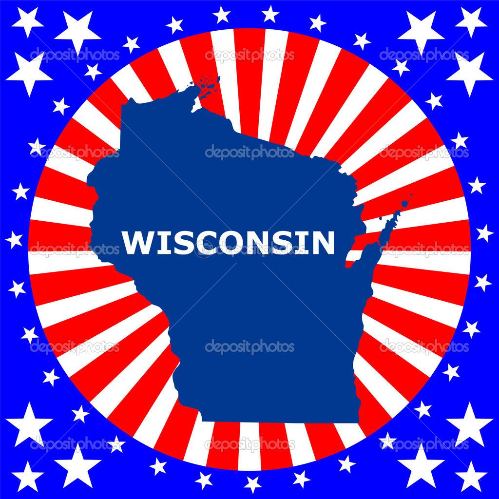 ABDnin Wisconsin Eyaletinde Haritas Stok Illstrasyon