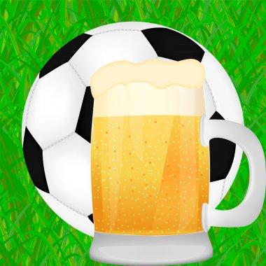 Mug of beer and a soccer ball