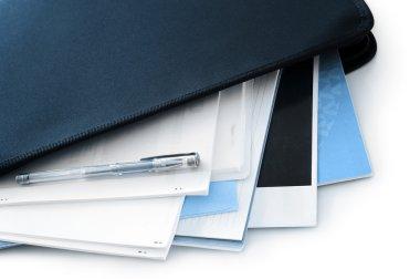 Office documents in black folder stock vector