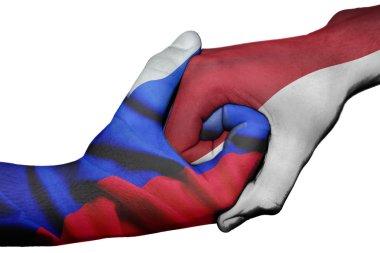 Handshake between Russia and Indonesia