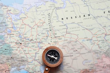 Travel destination Moscow Russia, map with compass
